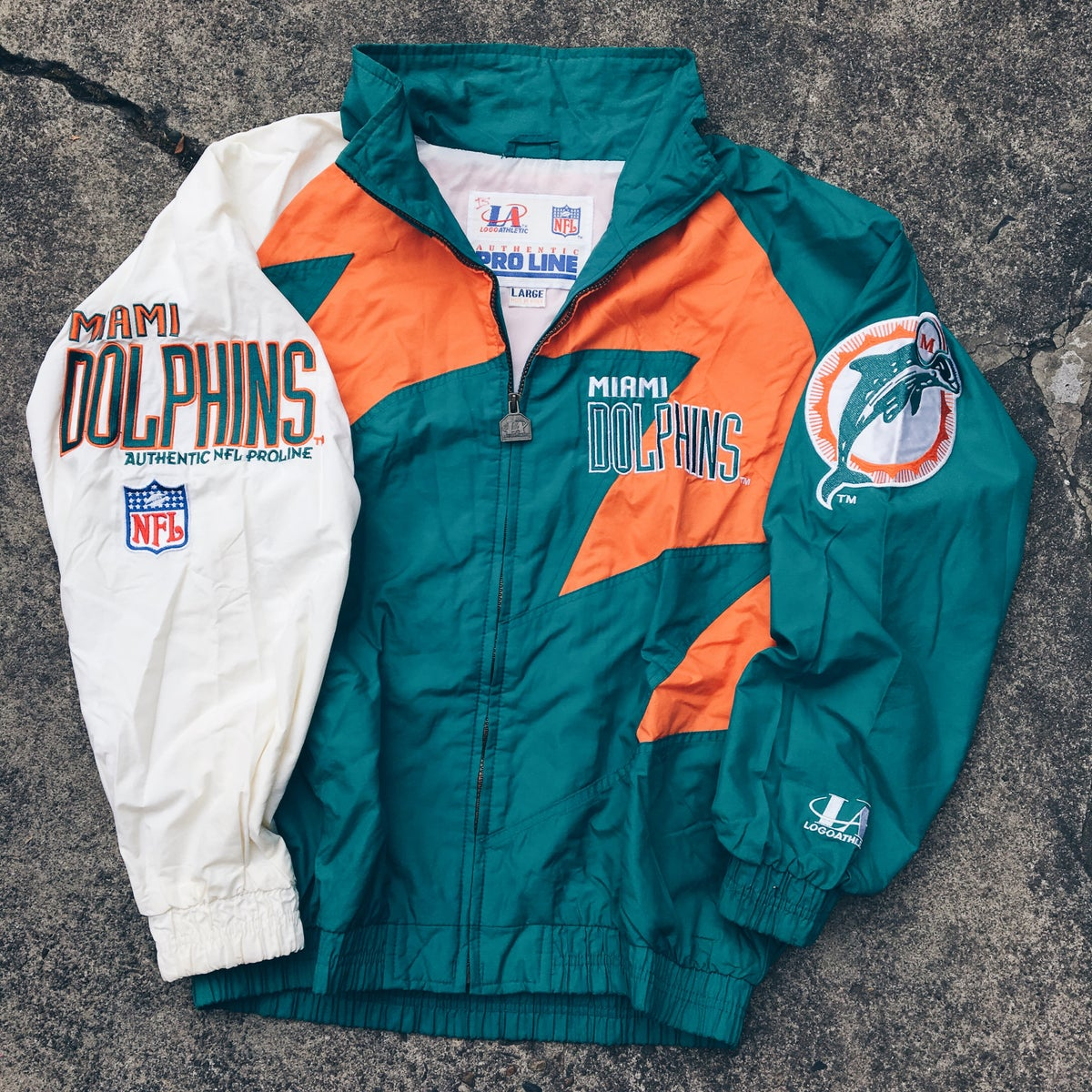 "info for 59afd b1d0e Original 90's Logo Athletics ""Sharktooth"" Miami Dolphins Jacket."