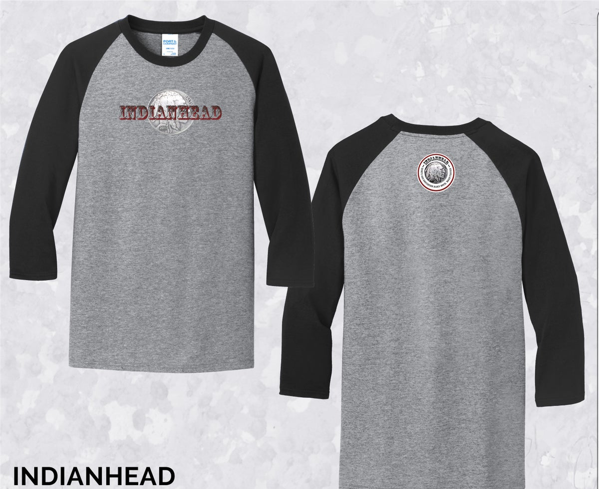 Image of Indianhead baseball style T-shirt -- gray/blk