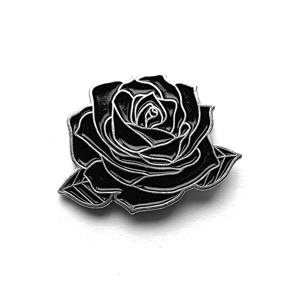 Image of Black and Silver Rose Enamel Pin