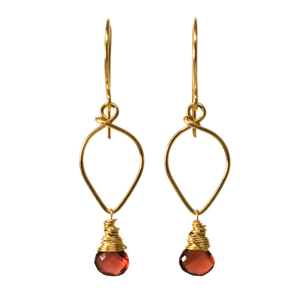 Image of Garnet earrings lotus loop 14kt gold-filled
