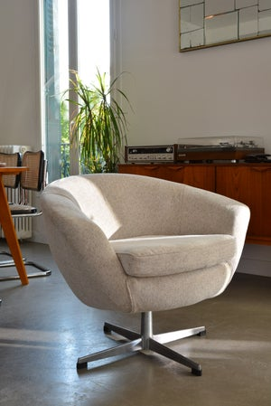 Image of Fauteuil coquille pivotante ivoire