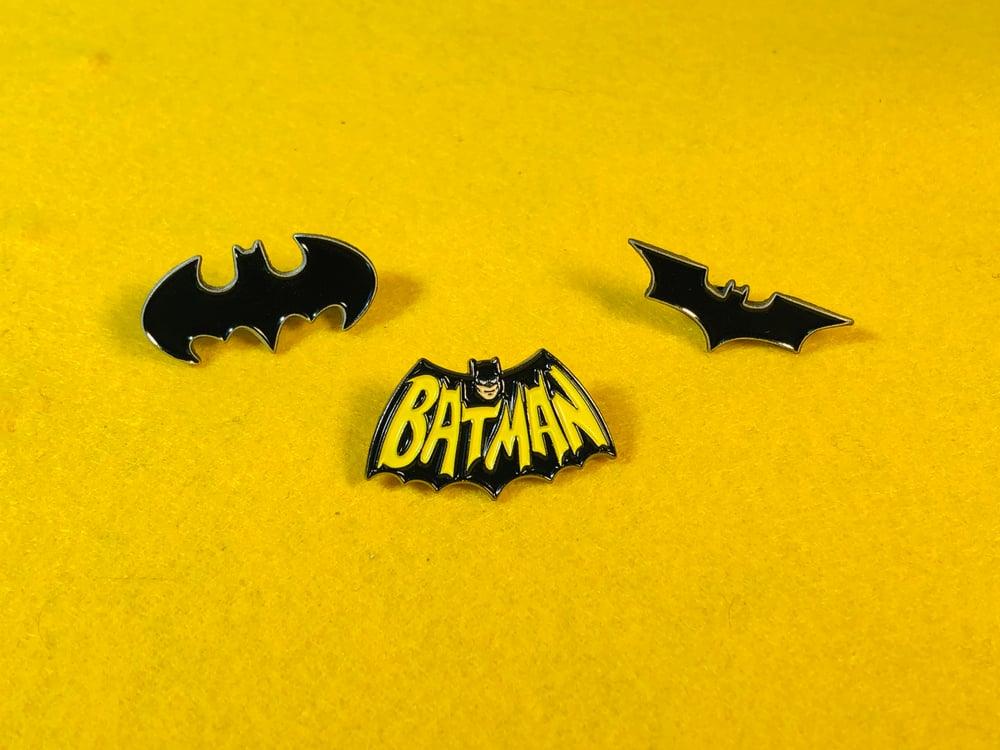 Image of Bat Logo Enamel Pin Set