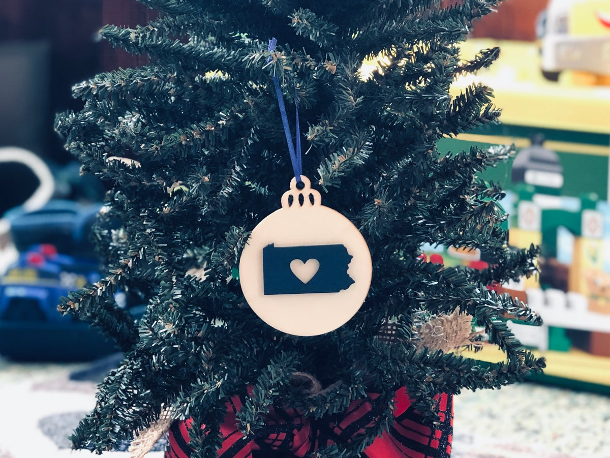 Image of Wood Heart PA Ornament