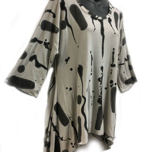 "Image of Joy Tunic - bamboo - Hop Scotch hand painted Design size XS/S up to 40"" bust"