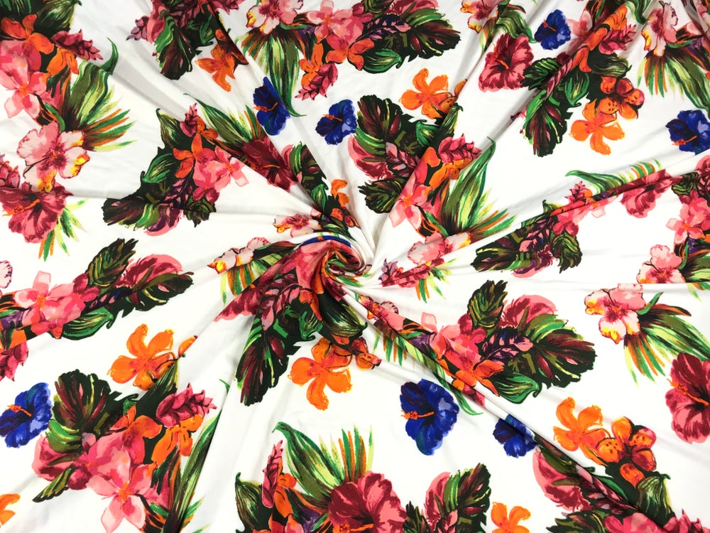 Image of Tropical Flowers Brushed Poly