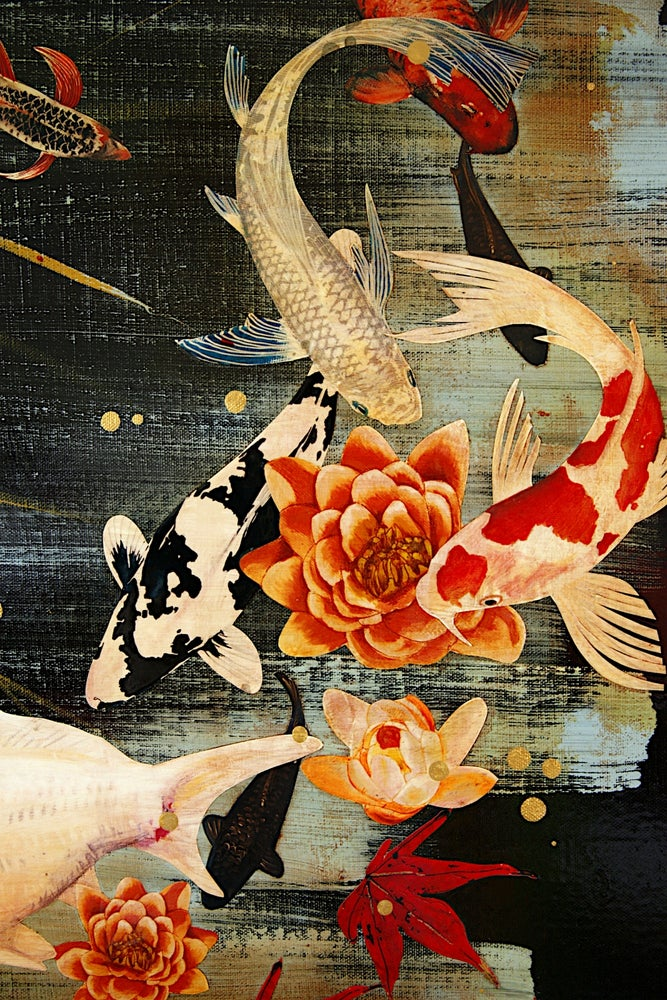 Image of Original Canvas - Koi Under Maple - 90cm x 60cm