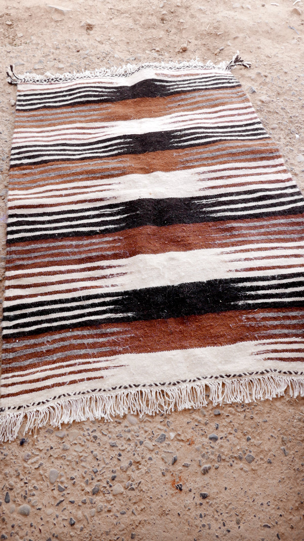 Image of Moroccan Kilim Rug - Graphic Brown and Black