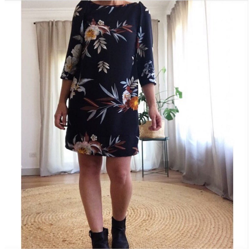 Custom 3/4 Sleeve Shift Dress - choose your fabric