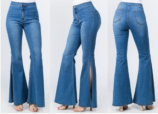 Image of Side piece bell jeans