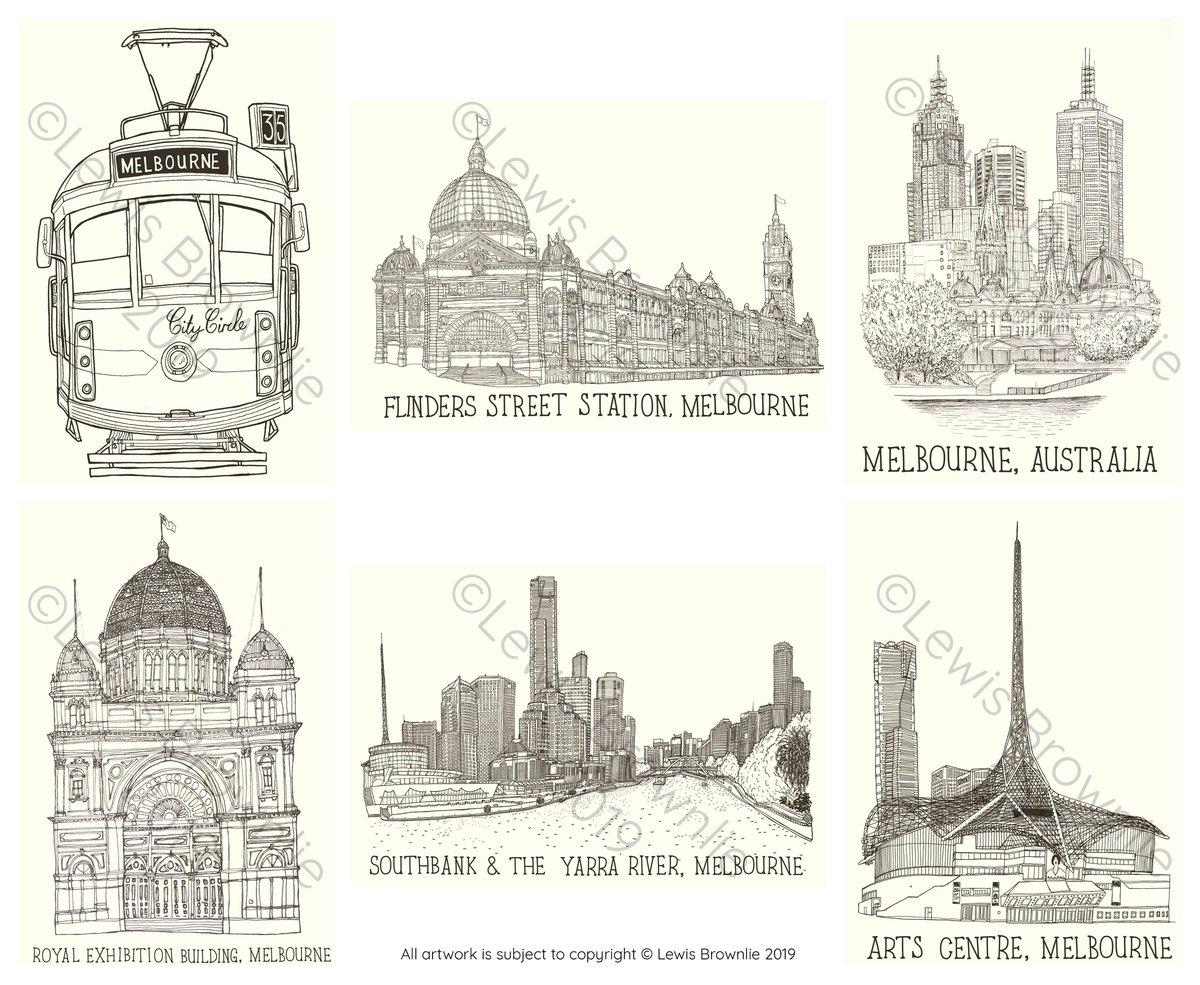 Image of Illustrated Melbourne Postcards (6 Pack)