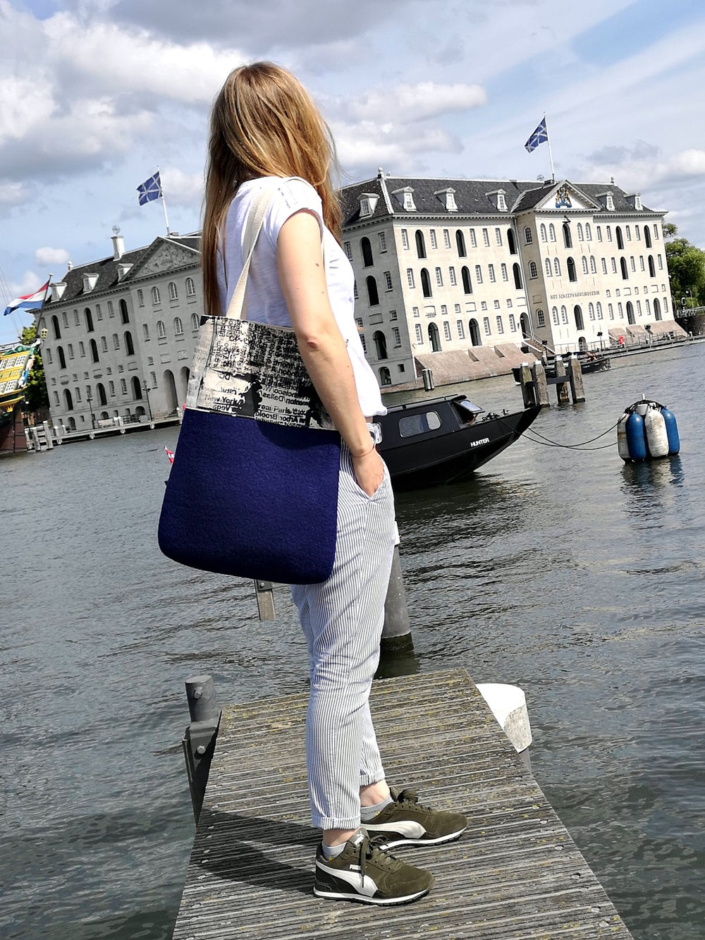Image of Navy blue Sailor tote bag. Felt tote bag. Wool hand felted bag with screen printed canvas.