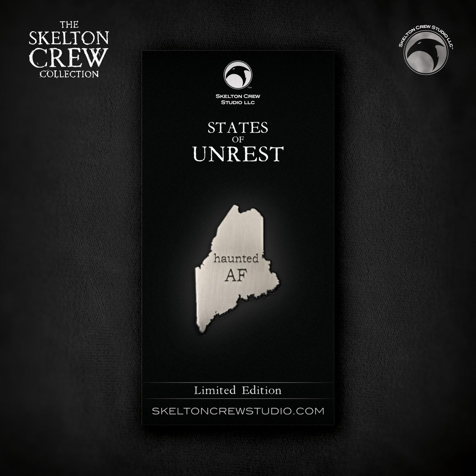 Image of The Skelton Crew Collection: States of Unrest Maine Haunted AF pin!