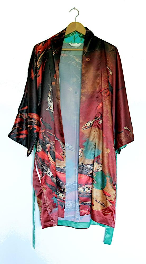 Image of Lily Greenwood Kimono Robe - 'Crimson Koi'