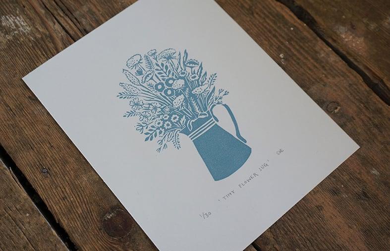 Image of Tiny Flower Jug - Linocut