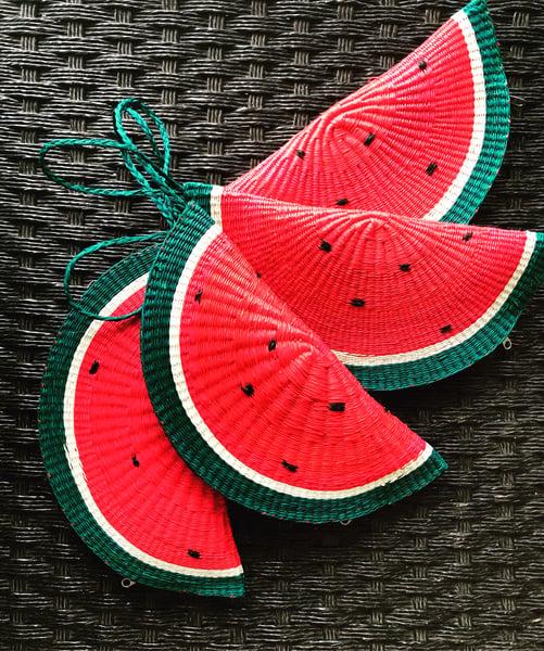 Image of Watermelon toquilla straw clutch