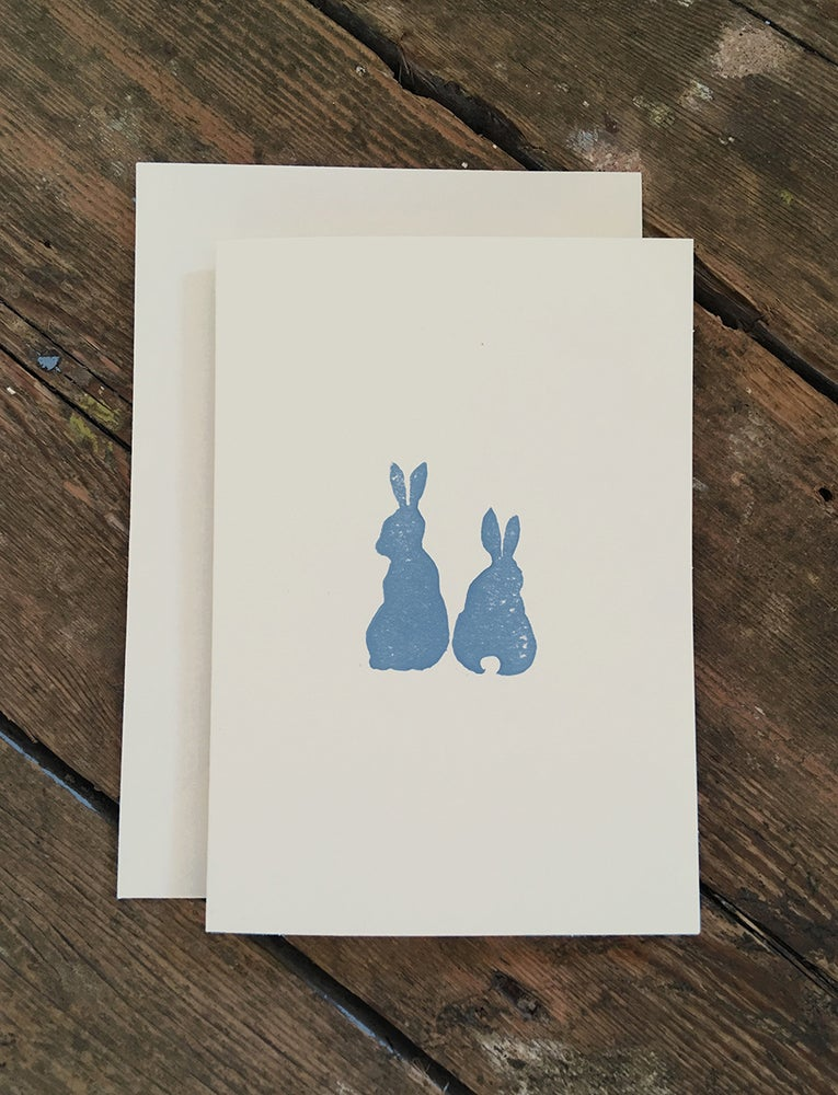 Image of Hand Printed - Rabbits Greetings Card
