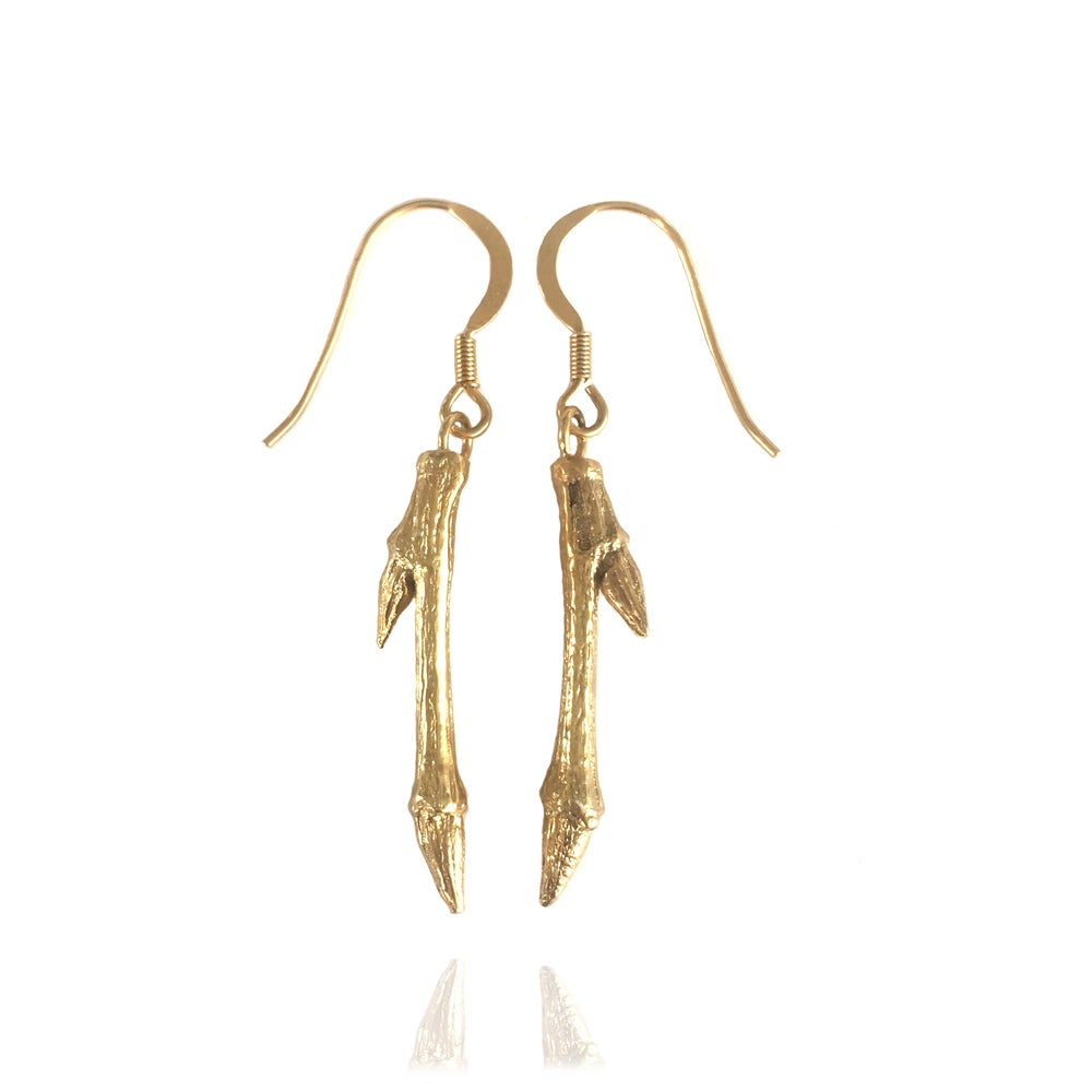 Image of Gold short twig earrings