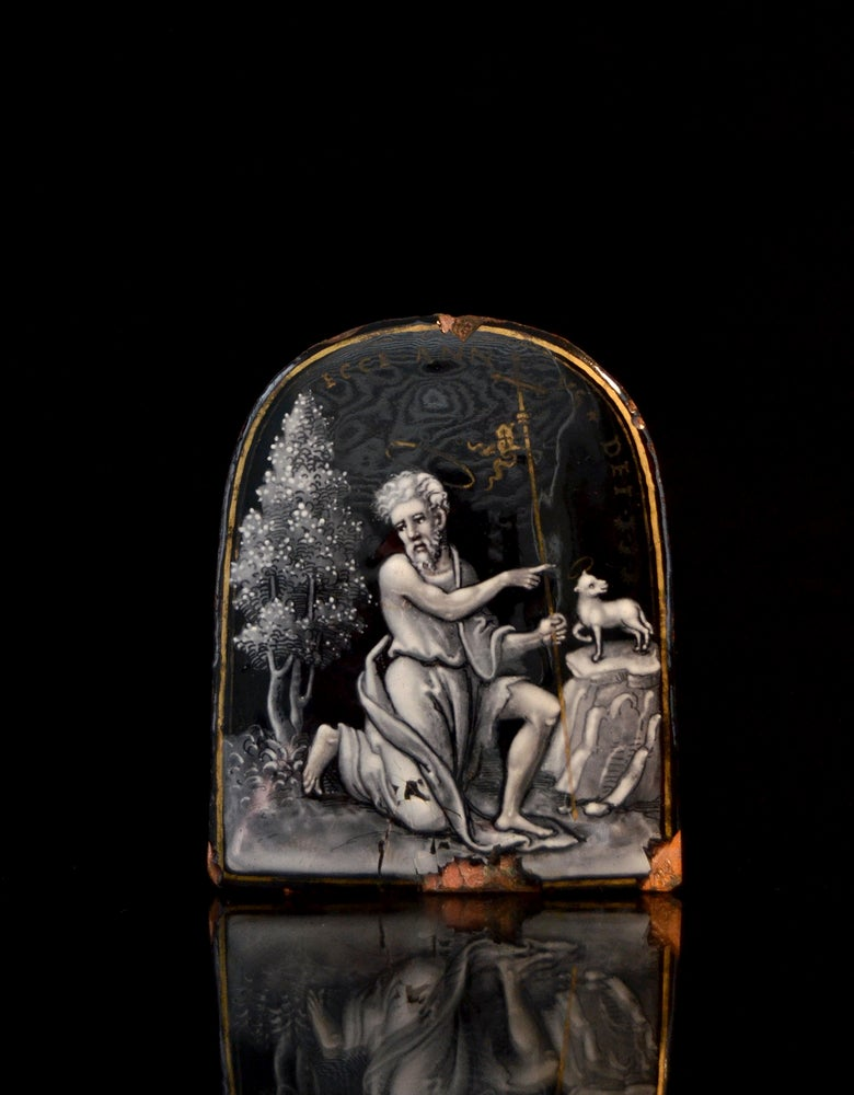 Image of A rare autograph Limoges enamel of John the Baptist by Pierre Reymond or workshop