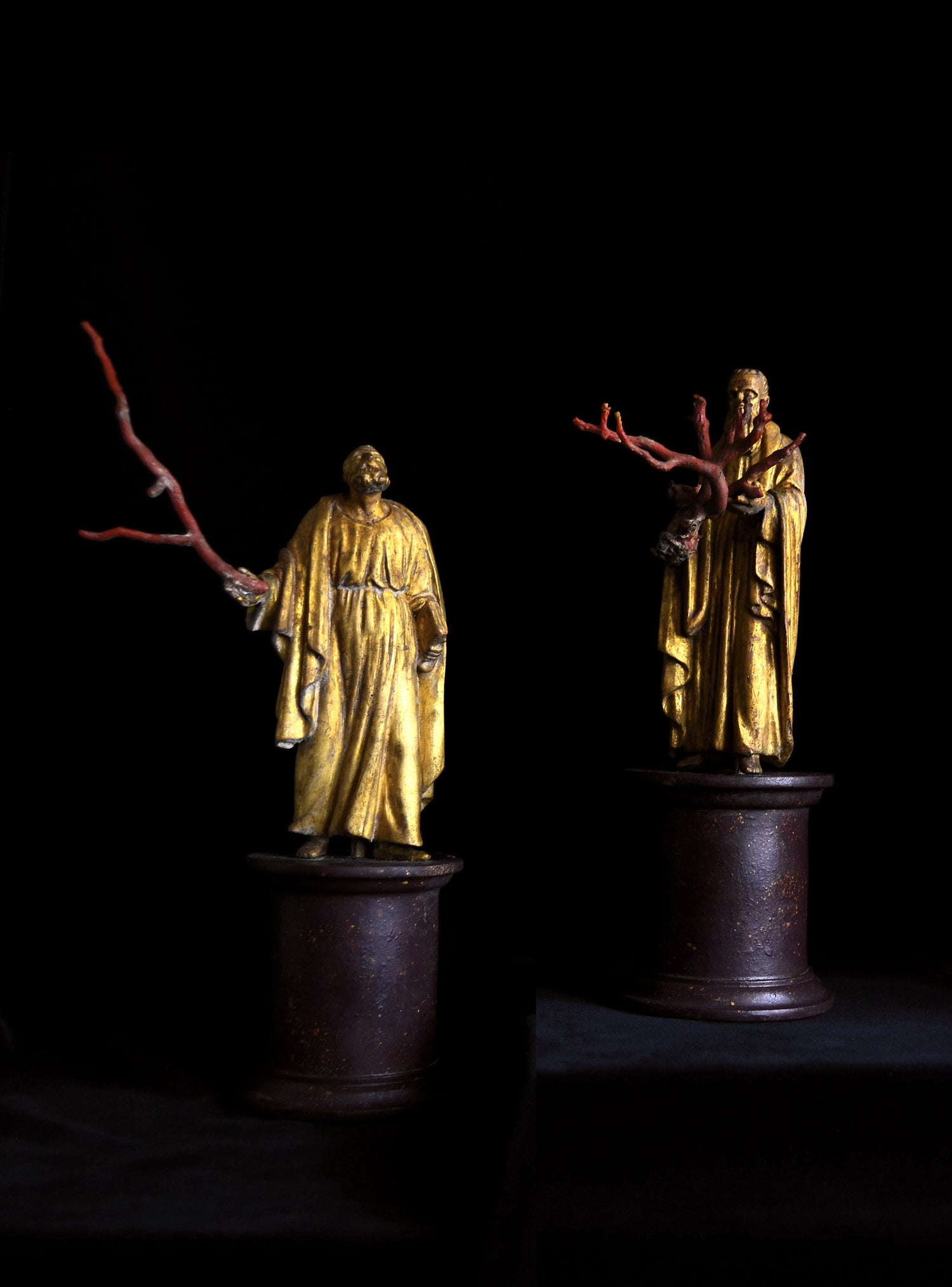Image of Pair of 19th century gilt wood and Mediterranean coral sculptures of saints