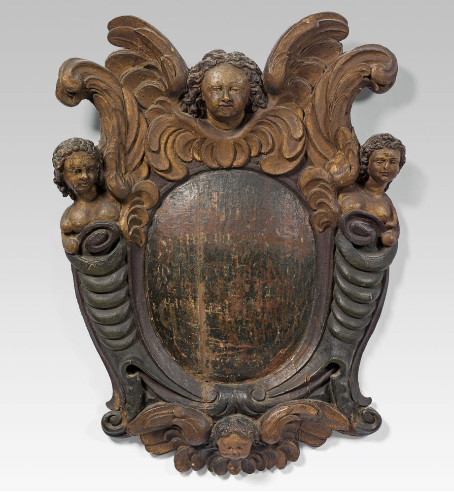 Image of 17th century wood cartouche or Wappenschild