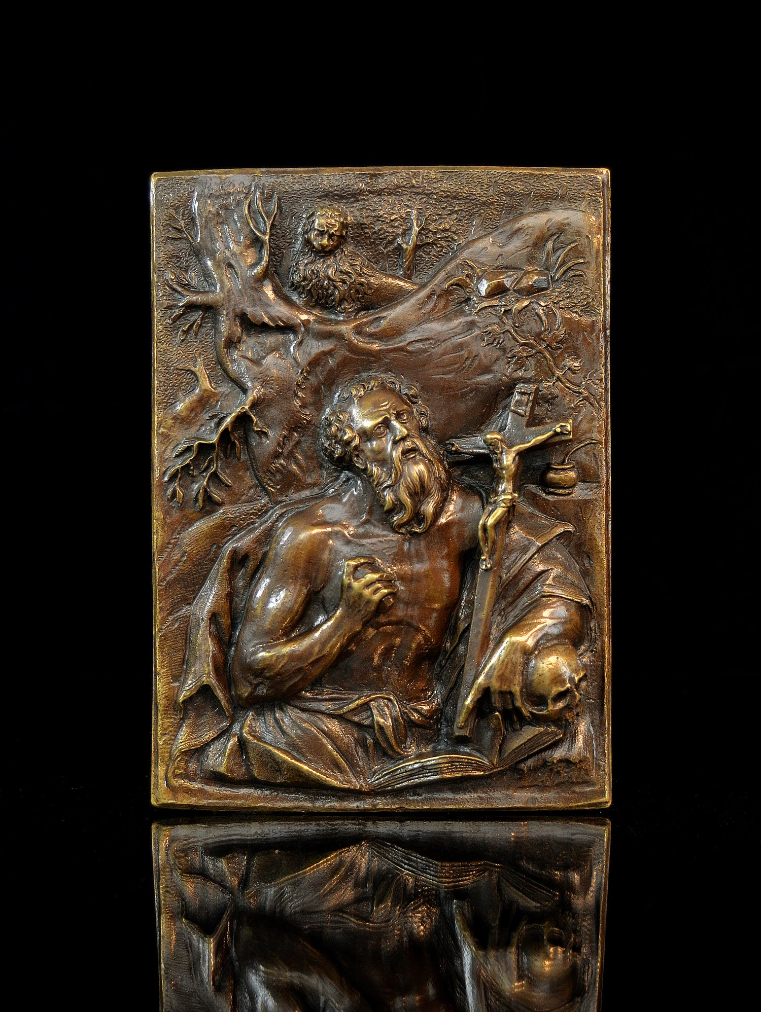 Image of High relief bronze plaquette of St. Jerome from the Circle of Hubert Gerhard