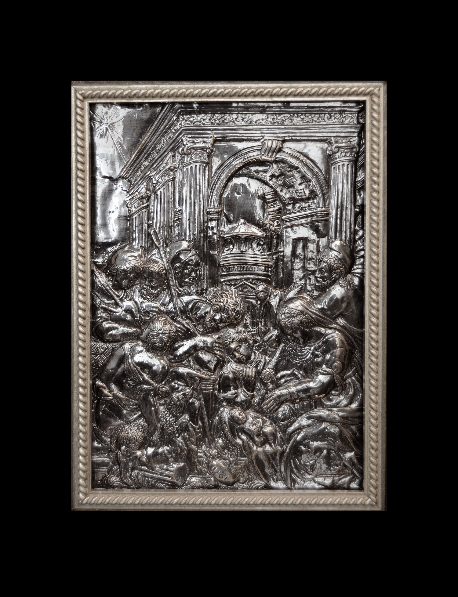 Image of A Silver Relief of the Adoration of the Shepherds attributed to Pellegrino Tibaldi, after Parmigiani