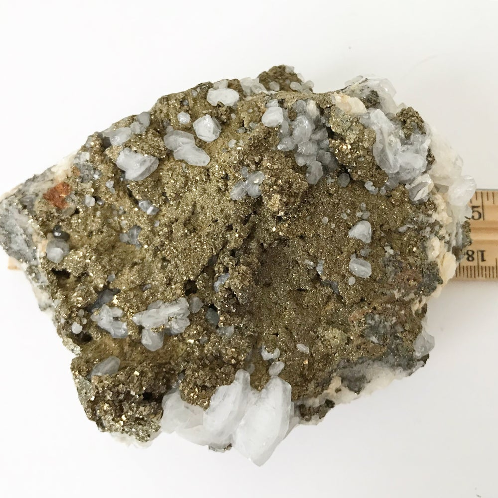 Image of Quartz/Chalcopyrite no.02 + Lucite and Brass Stand Pairing