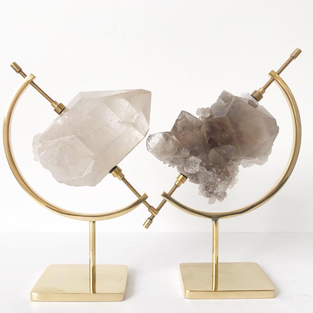 Image of Smoky Quartz Crystal Cluster no.96 + Brass Arc Stand