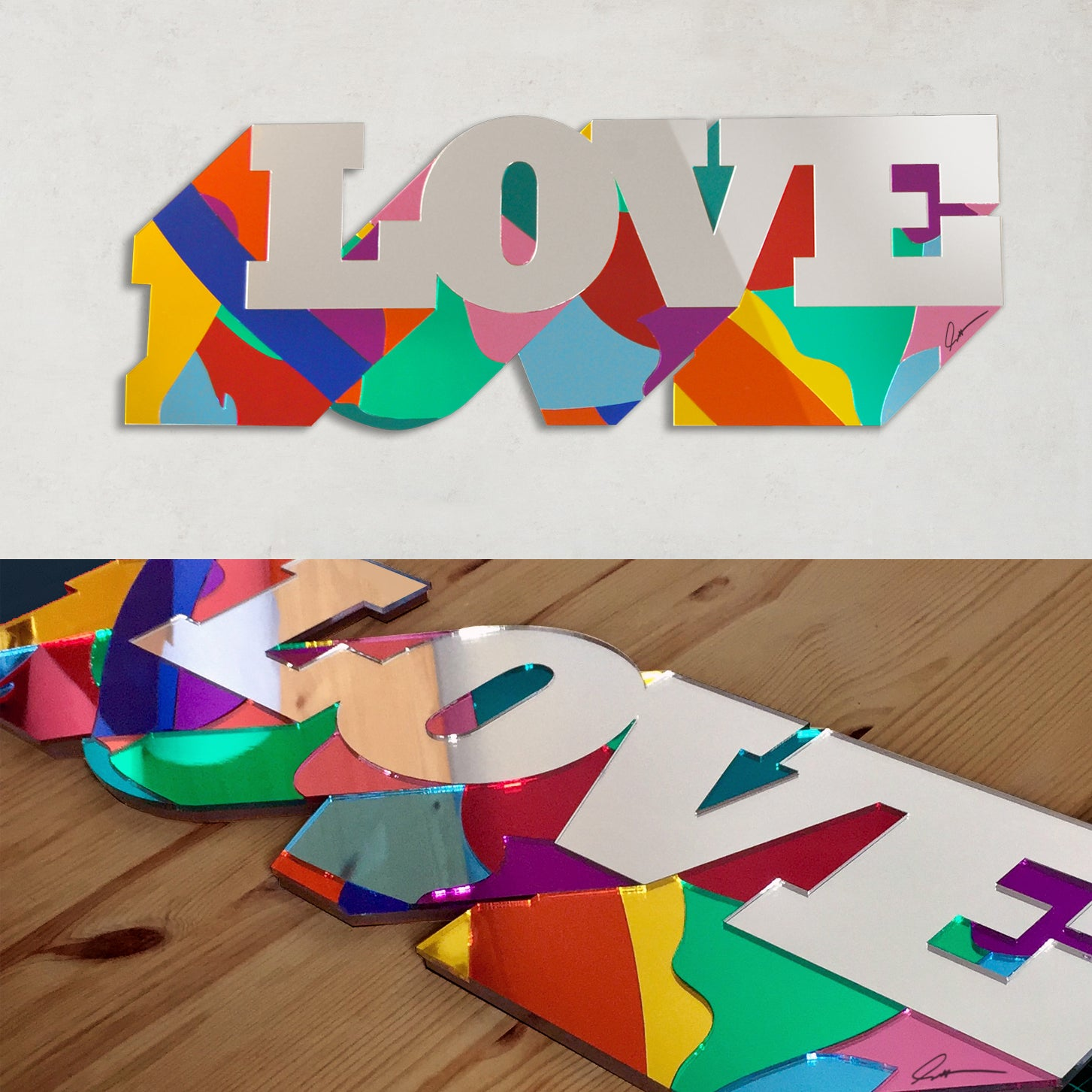 Image of LOVE / LONDON / NYC mirrors sculpture