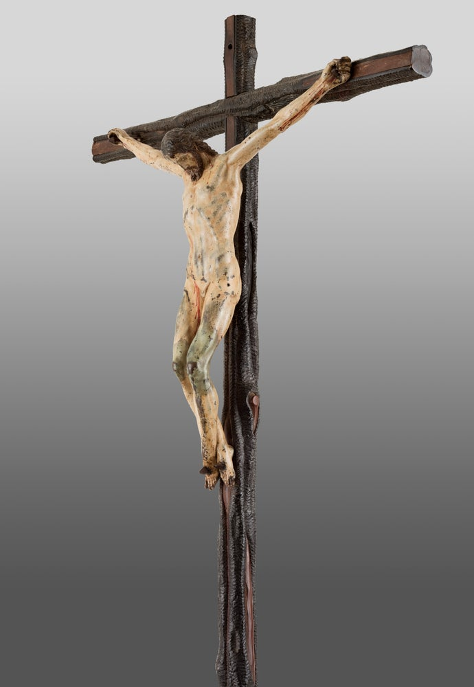 Image of A rare and important painted bronze Crucifix, after a model by Michelangelo