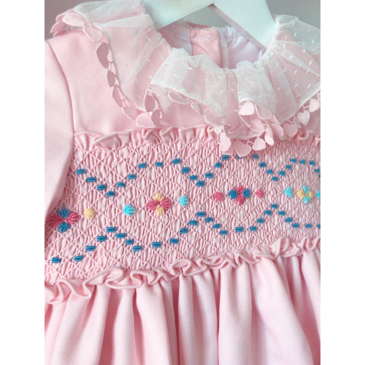 Image of Hand smocked pink puffball dress
