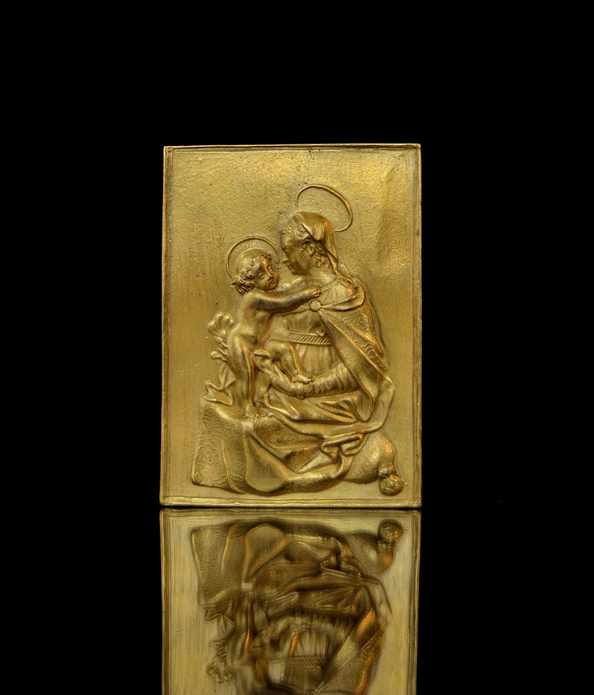 Image of 17th century gilt bronze plaquette of the Madonna and Child