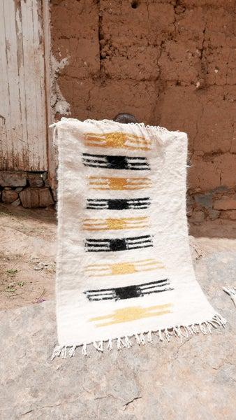 Image of Moroccan Kilim Rug - Graphic Black and Yellow