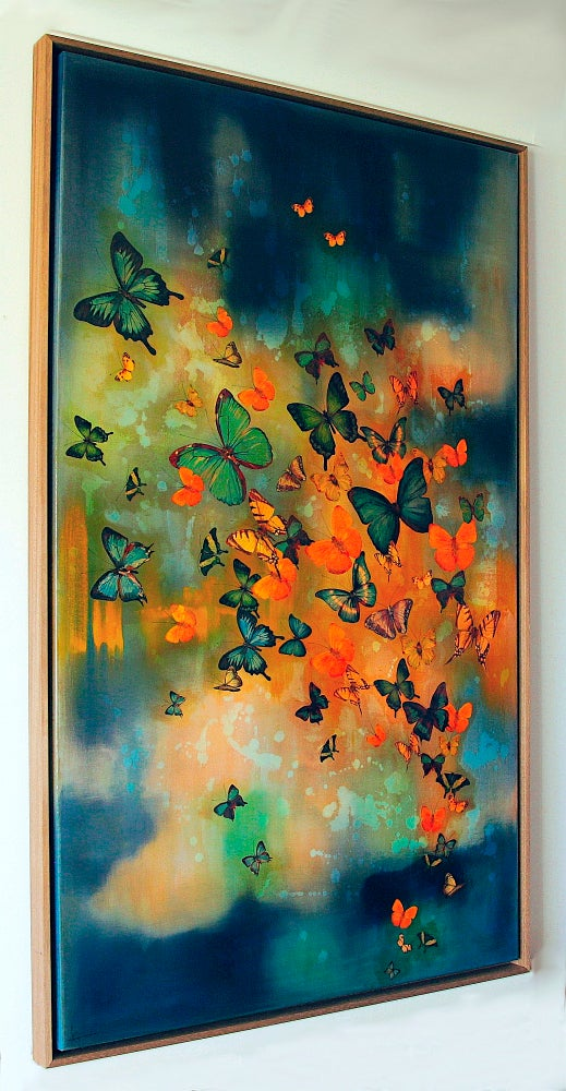 "Image of Original Canvas - Butterflies on Prussian Blue/Turquoise/Gold - 36"" x 60"""