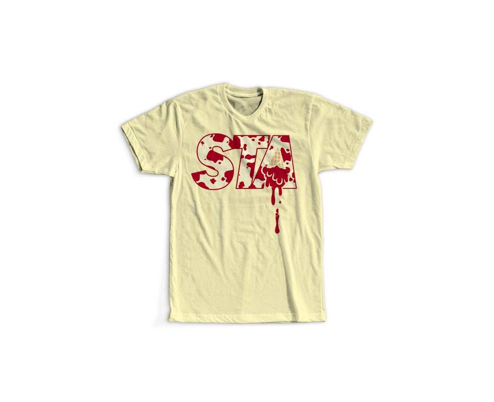 Image of STA Cow Print Tee Cream