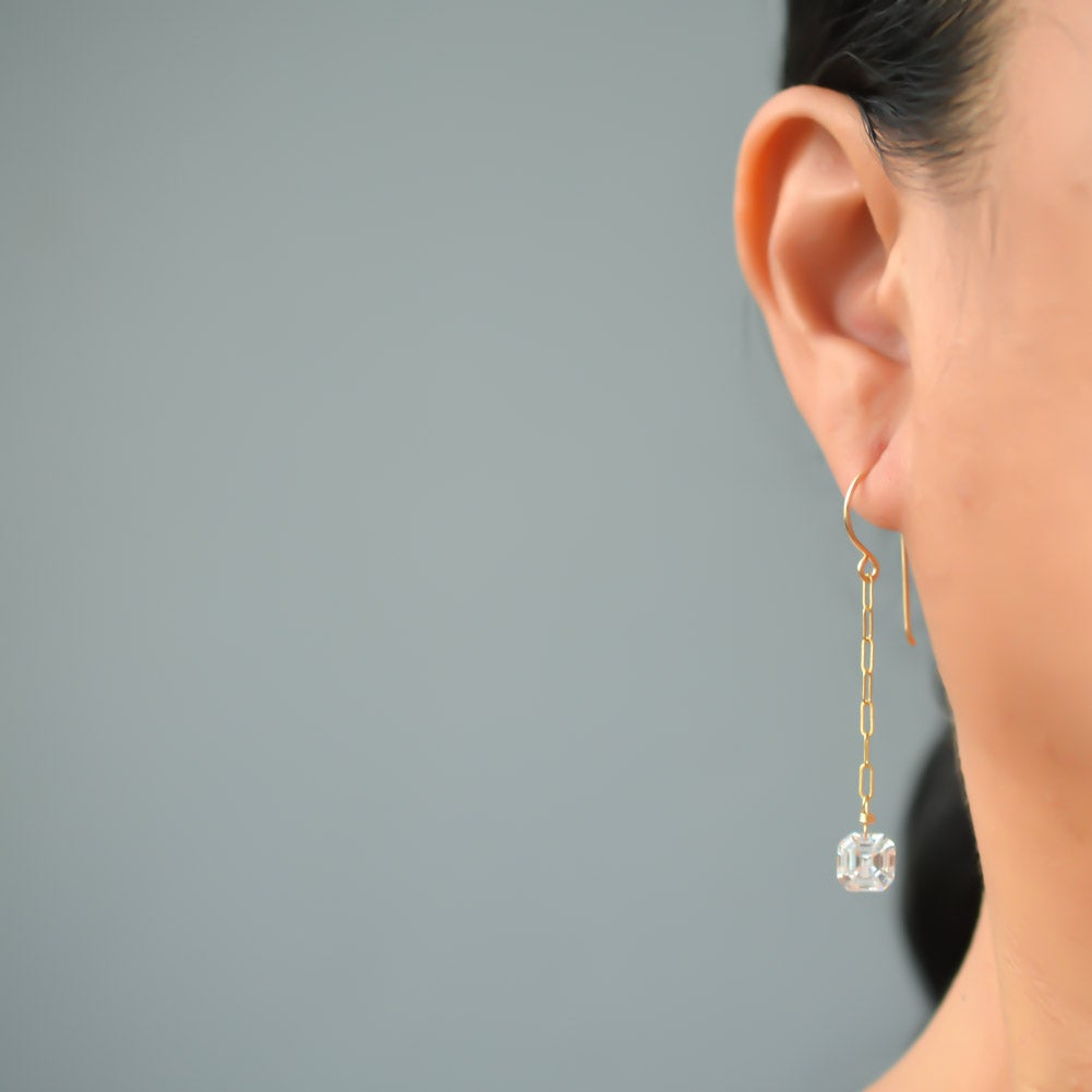 Image of Long Asscher-cut cubic zirconia chain earrings
