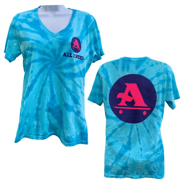 Image of LADIES TURQUOISE TIE DYE  V NECK