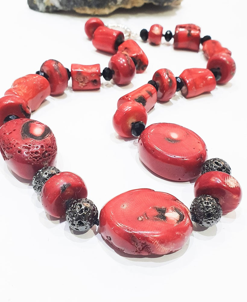 Image of Bamboo Coral, Electroplated Lava and Crystal Necklace