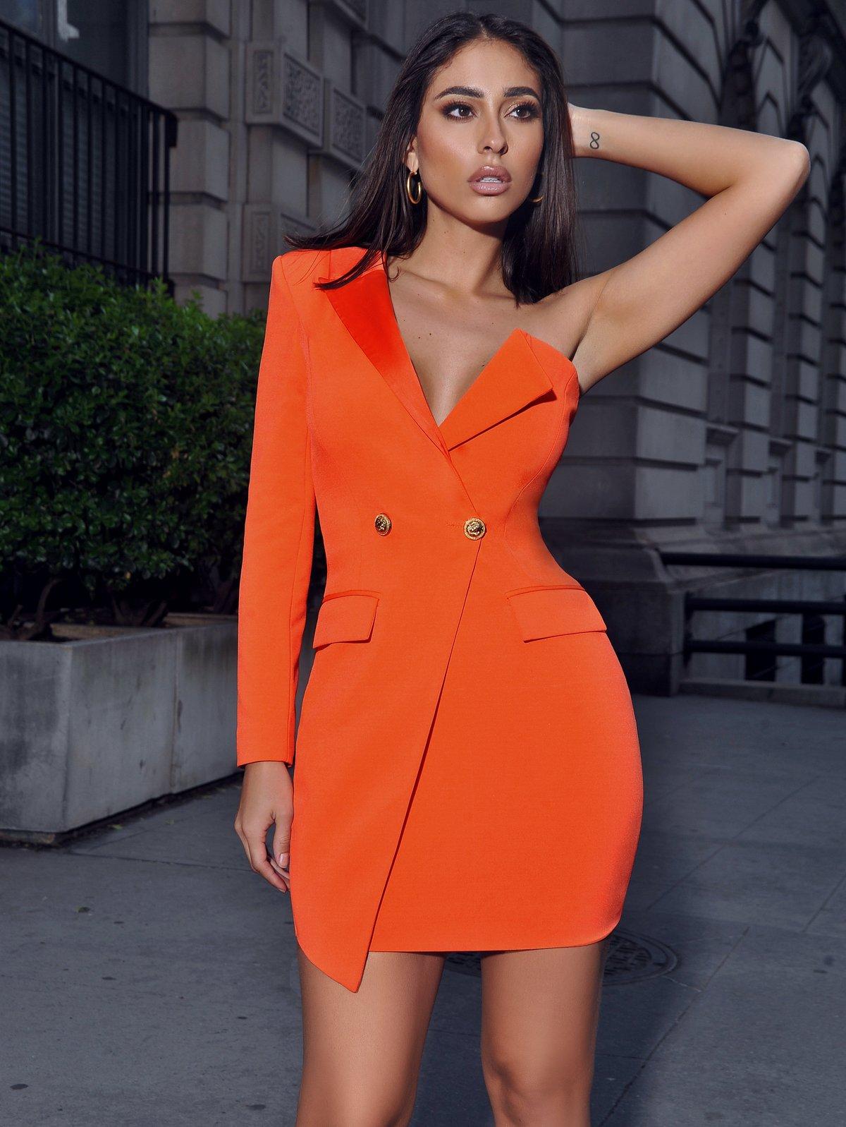 Image of One Sleeved Crepe Tuxedo Blazer Dress