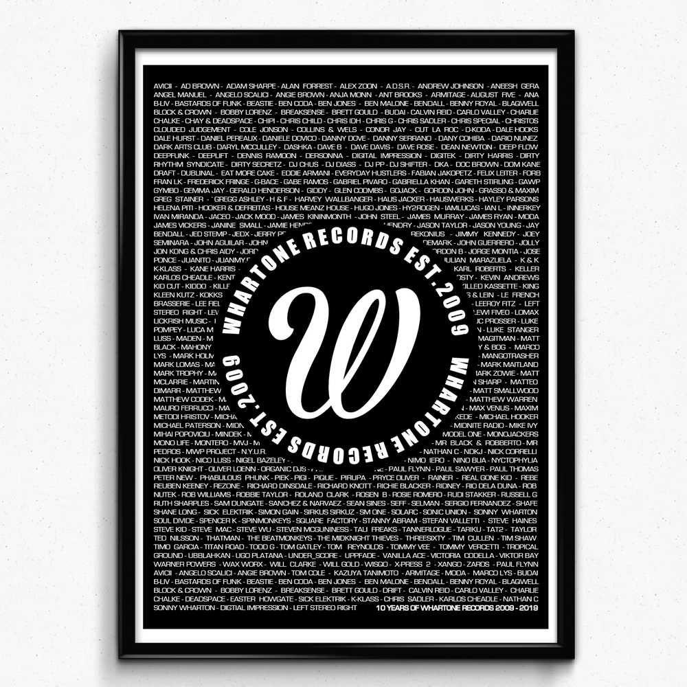 Image of 10 Years Of Whartone Records A3 Print