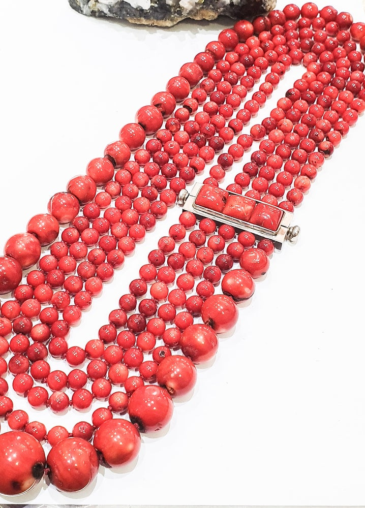 Image of Multi Row Bamboo Coral Necklace
