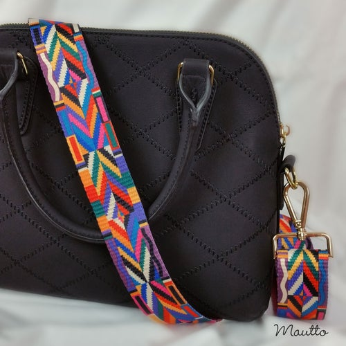 Image of Colorful Geometric Strap for Handbags - Tribal Native Couture Design - Adjustable Shoulder-Crossbody