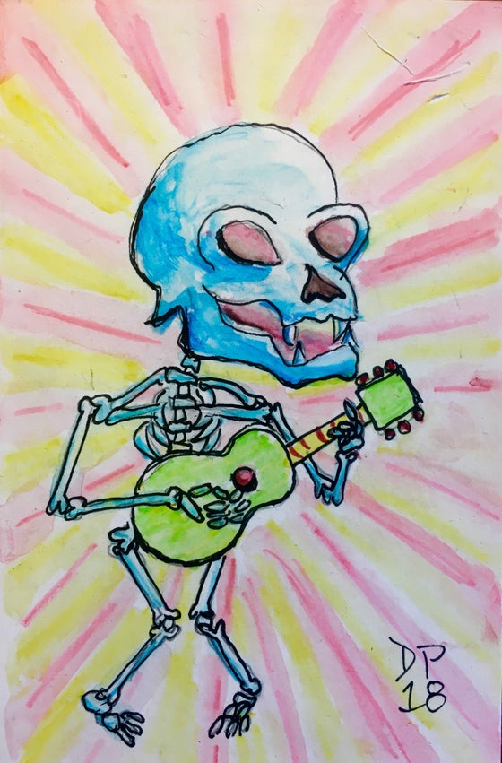 "Image of ""Blue Skull Strummer"" original watercolor painting by Dan P."