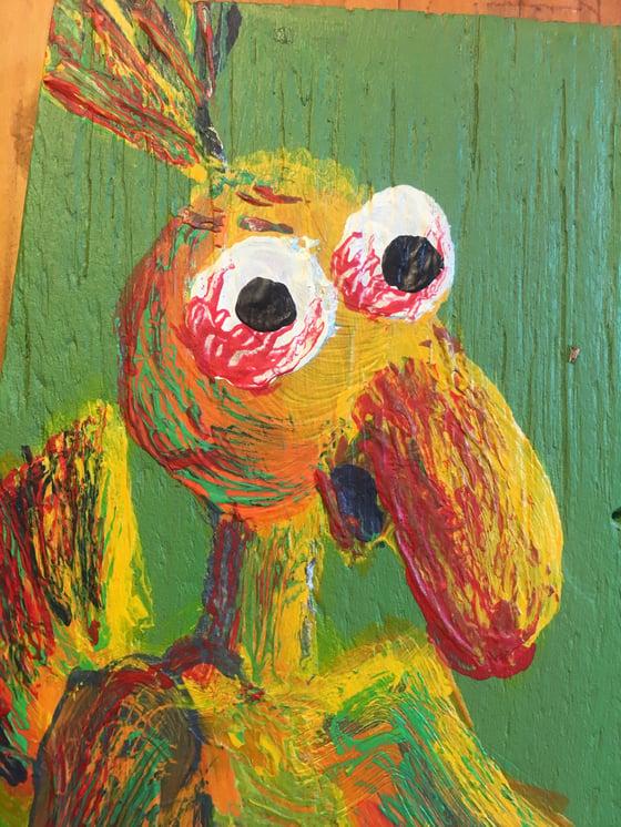 "Image of ""bloodshot eye plywood bird"" original acrylic painting by Dan P."