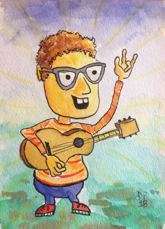 "Image of ""Orange and Yellow Sweater"" original watercolor painting by Dan P."
