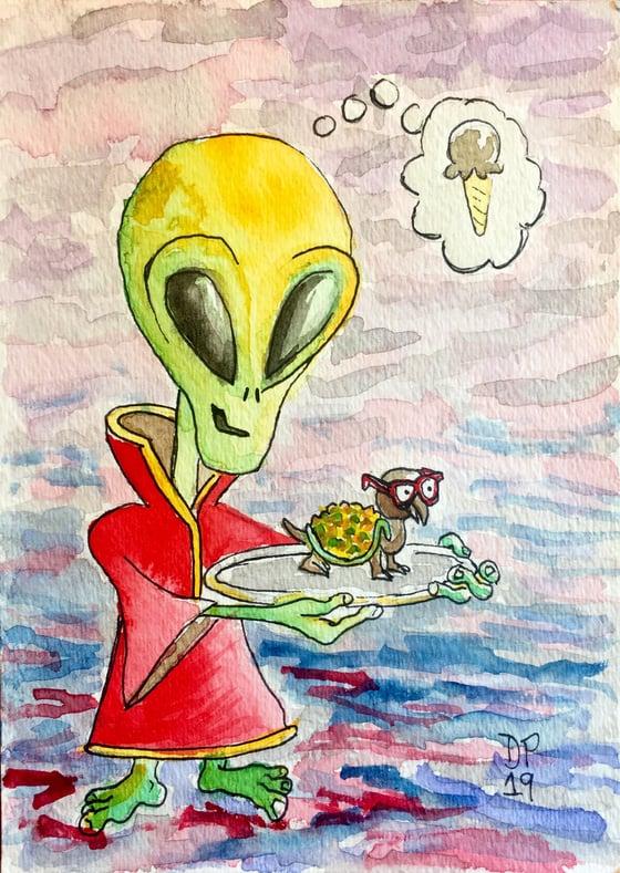 "Image of ""Alien Turtle Ice Cream"" original watercolor painting by Dan P."