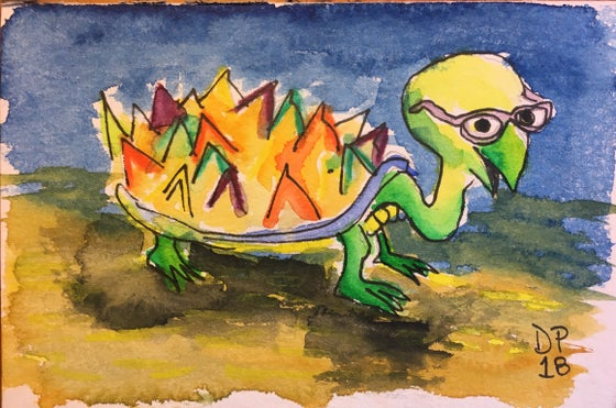 "Image of ""Shadow Turtle"" 4x6 original watercolor painting by Dan P."