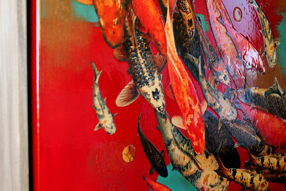 "Image of Original Canvas - Koi on Crimson with Turquoise and Gold - 36"" x 48"""