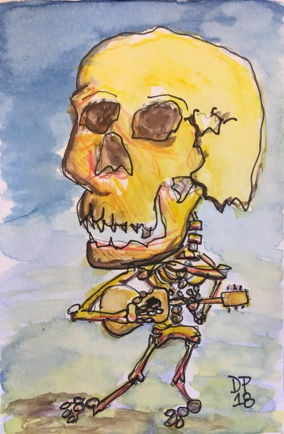 """Image of """"Big Skull Strummer"""" all original 4x6 watercolor painting by Dan P."""