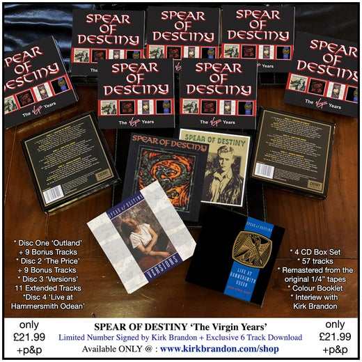 SPEAR OF DESTINY 'The Virgin Years' 4 CD Deluxe Box Set + Exclusive Download Tracks